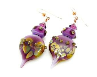 Purple Earrings, Teardrop Earrings, Lampwork Earrings, Glass Bead Earrings, Glass Art Earrings, Unique Earrings, Unusual Earrings