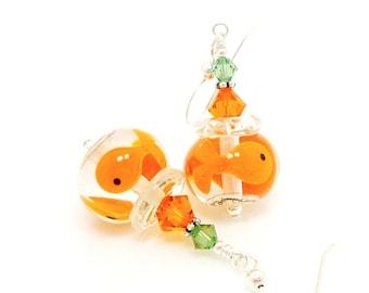 Goldfish Earrings, Fish Bowl Earrings, Lampwork Earrings, Glass Earrings, Fish Earrings, Fun Earrings, Beadwork Earrings, Unique