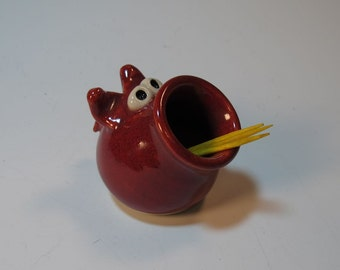 This LITTLE Piggy - Red ToothPick Holder - In Stock
