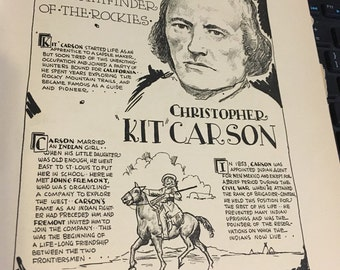 Book page print. Christopher Kit Carson the pathfinder of the Rockies . 7 x11 Great for framing for the collector. History. Classroom art.