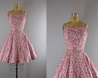 vintage 1950s sundress / vintage floral print 50s dress / Ode to Summer dress
