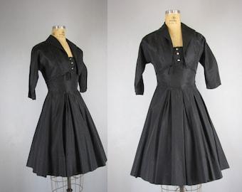1950s Vintage Dress Set l 50s Black Taffeta Party Dress and Bolero
