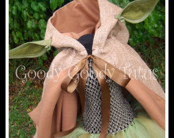 WISE HE IS Yoda Inspired Tutu Dress with Hooded Cape and Ear Clips