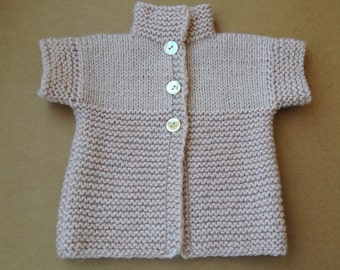 Baby girl cardigan. Pure wool. 1 year/80-86 cm
