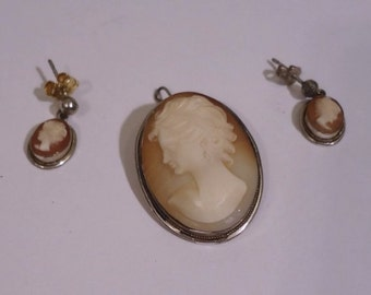 Antique Cameo 800 Silver Carved Shell Cameo Brooch Pendant & Earrings
