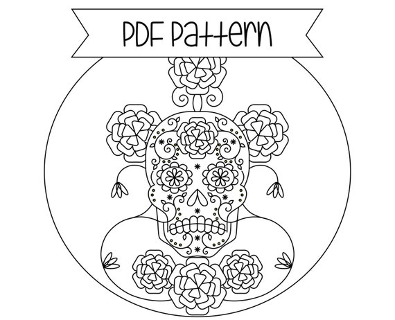 Day of the Dead Embroidery Pattern Hand Embroidery Sugar Skull Design
