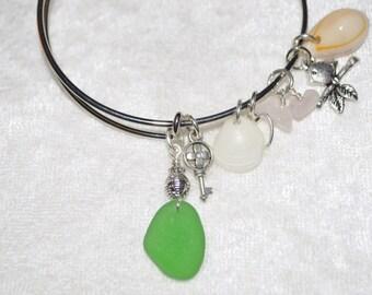 Adjustable Expandable Sea Glass Jewelry Beach Bangle Wire Charm Bracelet Green 1128