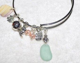 Adjustable Expandable Sea Glass Jewelry Beach Bangle Wire Charm Bracelet Sea Blue 1152