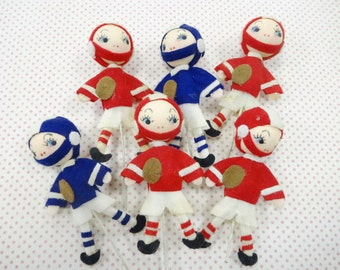 Vintage Felt Figures Football Team Players Cupcake Cake Party Decorations Novelty Project Embellishments Lot (6) Each