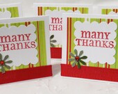 Handmade Holiday Mini Thank You Cards, 24, Green and Red, Christmas, Thank you Cards, Many Thanks, Green Flower, Red Bling, Tags