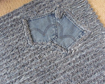 Recycled Denim Bag Hobo Purse Blue Jeans By