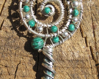 Sacred Spirals///Astral Travel///Crystallized Malachite, and Copper Wire Wrap Pendant, One of a Kind, Handmade, Art
