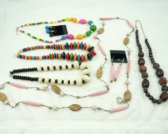 Nice Mixed Lot of Vintage Wood Beaded Necklaces Two With Earrings