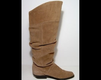Deadstock 1980s tall knee high brown suede slouch pirate boots ~ 7 ~ Made in Canada College thick suede leather ~ new ~ black rubber soles