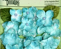 Petaloo Small Glittered Fabric Flowers Velvet Hydrangeas - AQUA Blue floral embellishments with bead center