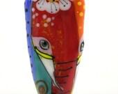Lampwork bead sra , multi colored handmade glass elephant bead, OOAK artisan made sra