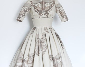 Cream & Walnut Illustrative Butterfly Audrey Prom Dress - by Dig For Victory