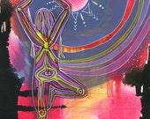 Yoga Art 13x19 Print - Sun Worship - yoga wall art, yoga space decor, yoga artwork, yoga gift