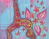 Yoga Art 11x14 Print - Grow - yoga wall art, yoga studio decor, yoga artwork, yoga gift