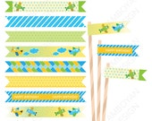 Airplane Blue Green Yellow- Pilot Airplane, Aviation  Printable Straw Flag - Instant Download