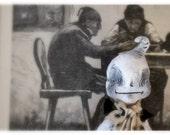 Ooak, Halloween, Wall Art, Spun Cotton, Ghost, Sitting on Vintage Frame, Antique Print, Creepy, Cute, Black and White