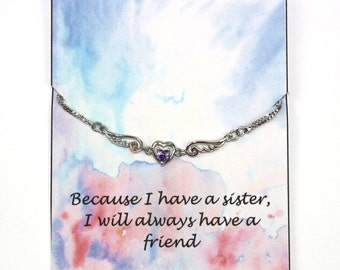 Sister Heart And Wings Bracelet Gift
