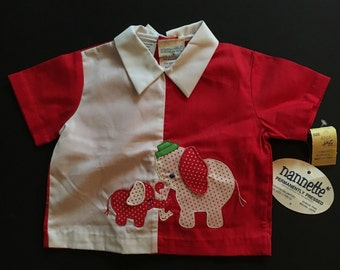 Vtg 2 Piece Shirt and Diaper Cover Set - Red and White with Elephants - Nannette - New With Tags - 14-18 Lbs