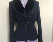 1950s Dan Millstein Balenciaga Velvet Collared Blazer Asymmetrical Buttons