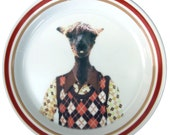 Timmy the Alpaca, school portrait  - Altered Vintage Plate 8.7""