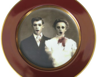 Zombie Love Portrait Plate - Altered Vintage Plate 10.25""