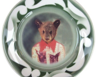 """Joey the Bear, 1st grade picture - Altered Vintage Plate 9"""""""