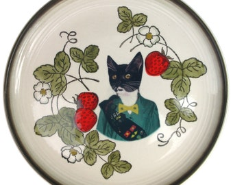 SALE - Kitty Scout Portrait - Altered Vintage Plate 10.5""