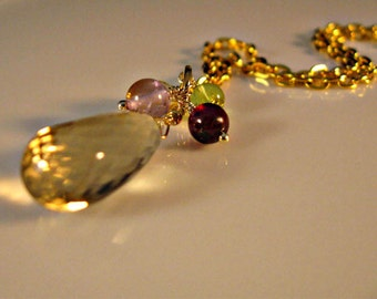 Multi Gemstone Necklace,gold necklace,champagne quartz necklace,Garnet Necklace,peridot necklace,amethyst necklace,citrine necklace,gemstone