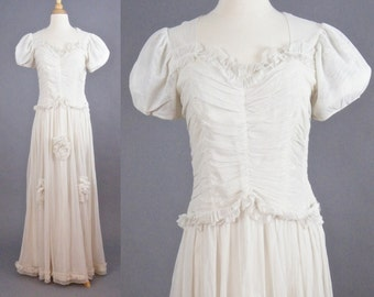 Vintage 1940s Wedding Dress, 40s Wedding Dress, Ivory Net Gown, Medium