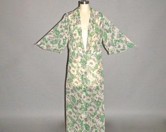 SALE Vintage 30s Dress, Sheer Floral 1930s Dress, M - L