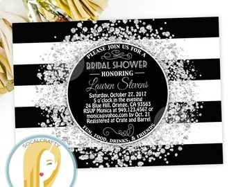 Great Gatsby Bridal Shower Invitation, Roaring 20's, Twenties, Silver Confetti, Black and White, Printable or Printed Invitations, Free Ship