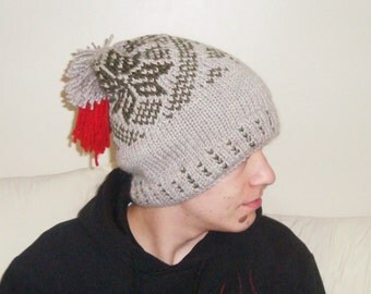 Slouchy beanie men, slouchy knit hat, mens hat, beige, with pom pom, boyfriend birthday gift for men