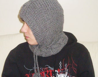 Grey Hood Scarf, Hooded Cowl, Hat, Hand Knit Hoodie Cowl, Winter Fashion, Men, Cowl Hood, Grey Hat, Grey Knit Hat, gifts for him - gray