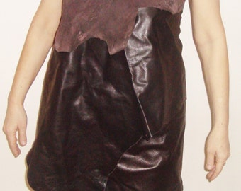 Rave Festival Clothing Top and Skirt for Man Cave or woman cave costume Dark Brown Genuine Leather lambskin lamb skin lamb leather