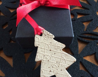 handmade ceramic christmas tree decoration musical note pattern gift