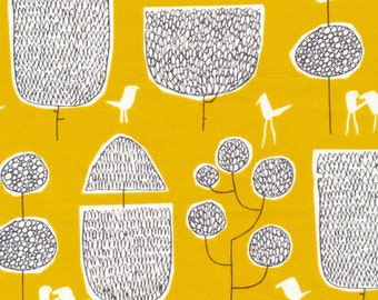 Quilting Fabric Organic Cotton Cloud 9 Fabric Yoyogi Park by Skinny laMinx Tokoyo Trees Gold Yellow Out of Print