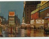Times Square At Night New York City NYC NY 1960s chrome postcard