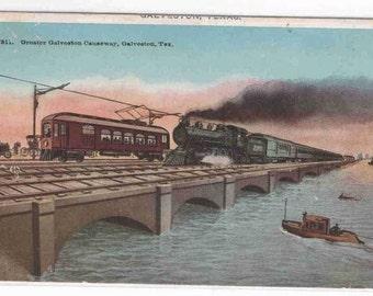 Railroad Train Streetcar Galveston Causeway Texas 1913 postcard
