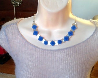 Perriwinkle Glass button necklace