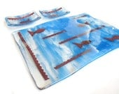 Fish Sushi Set Fused Glass Platter with soy Sauce Dishes Blue Copper Handmade