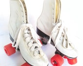 ON SALE Vintage Size 5 Roller Derby Skates Skating Shoes Retro Red White Kitsch Ladies Womens Girls Vtg