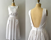 1980s Vintage Dress - 80s White Cotton Embroidered Sundress