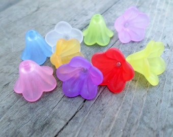 Lucite Flower Beads Mixed Colors 14mm X 10mm 20pcs (Item Number FACR-5332-M)