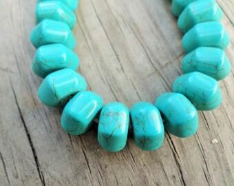 Turquoise Magnesite Hexagon Rondelle Beads 14x8mm 16 Inch Strand