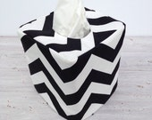 Black chevron reversible tissue box cover